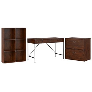 Kathy Ireland Office by Bush Ironworks Desk with Bookcase and Lateral File Cabinet