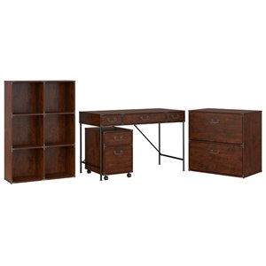 Kathy Ireland Office by Bush Ironworks Desk with Bookcase, Lateral File Cabinet and File Cabinet