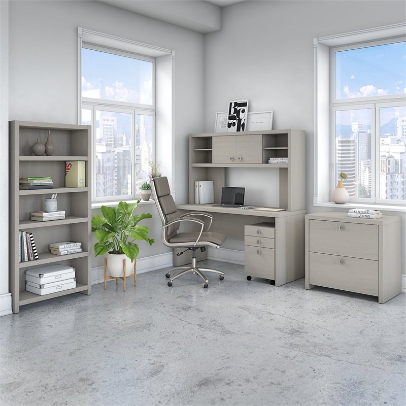 Office By Kathy Ireland Echo Desk With Hutch And Storage