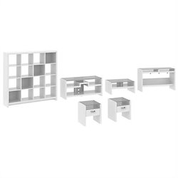 Kathy Ireland Office by Bush Furniture New York Skyline Work-'N-Play Family Suite in Plumeria White