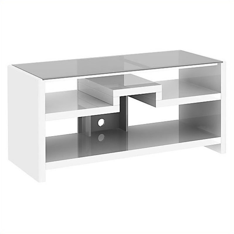 Kathy Ireland Office by Bush Furniture New York Skyline 3-in-1 Gaming Center TV Stand in Plumeria White