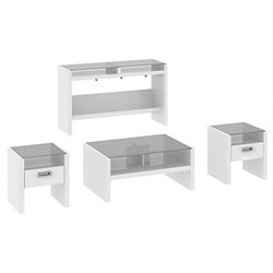 Kathy Ireland Office by Bush Furniture New York Skyline 4 Piece Coffee Table Set in Plumeria White
