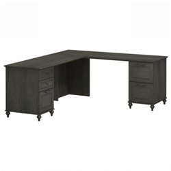 Kathy Ireland by Bush Volcano Dusk Double Pedestal L-Desk