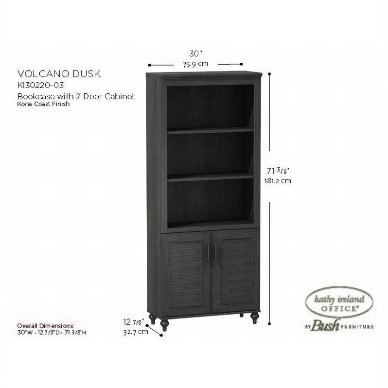 Kathy Ireland by Bush Volcano Dusk Bookcase with 2 Doors in Kona Coast Finish