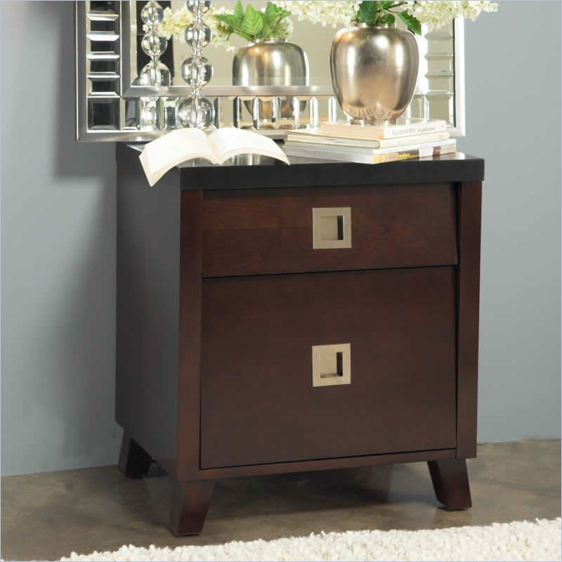 Angelo Home Marlowe Nightstand in Chocolate Brown and Black