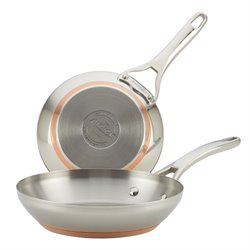 Anolon Nouvelle Copper Stainless Steel 2 Piece French Skillet Set