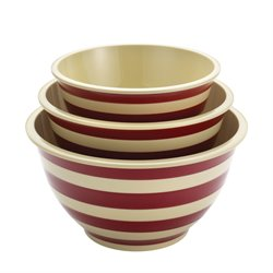 Paula Deen Signature Pantryware 3 Piece Mixing Bowl Set in Red Stripe