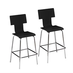 Holly & Martin Tebrack Bar Stool in Black (Set of 2)