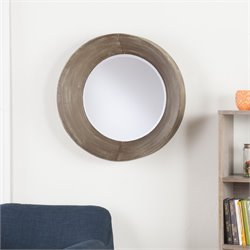 Holly & Martin Wushu Round Metal Mirror in Antique Brown