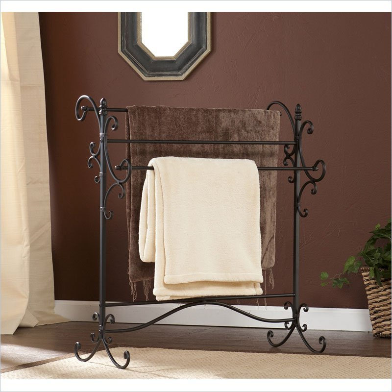 Bolton Iron Blanket Rack in Black with Bronze Rubthrough