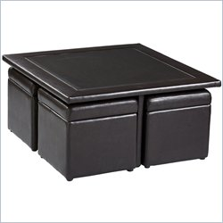 Holly & Martin Broderick Storage Cube Table Set in Dark Chocolate Faux Leather