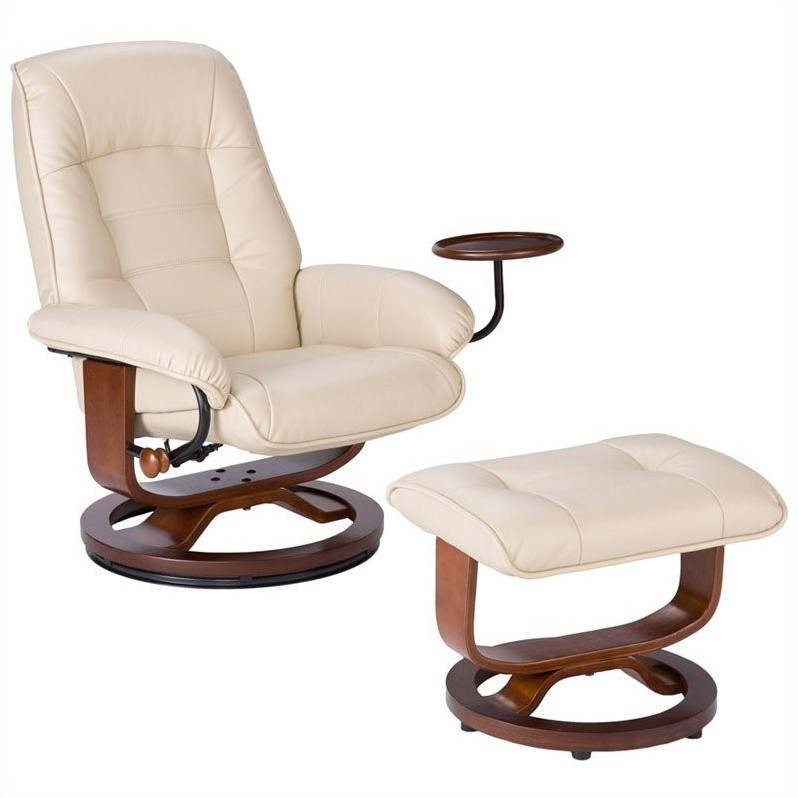 Holly & Martin Hemphill Leather Recliner Chair and Ottoman in Taupe