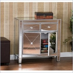 Holly & Martin Montrose Painted Silver Wood Trim Mirrored Cabinet