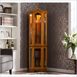 Holly & Martin Riley Lighted Corner Curio Cabinet in Golden Oak