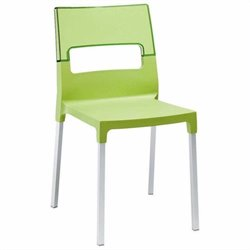 Italmodern Diva Stacking Dining Chair in Green and Aluminum
