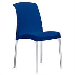 Italmodern Jenny Stacking Dining Chair in Blue and Aluminum