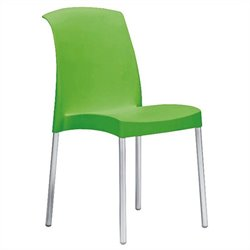 Italmodern Jenny Stacking Dining Chair in Green and Aluminum