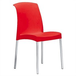Italmodern Jenny Stacking Dining Chair in Red and Aluminum