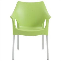 Italmodern OlaOffice Dining Chair in Green and Aluminum