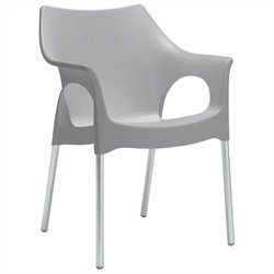 Italmodern OlaOffice Dining Chair in Gray and Aluminum