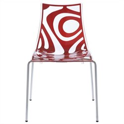 Italmodern Wave Stacking Dining Chair in Translucent and Red