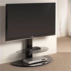 Two-Shelf Pedestal TV Stand in Black