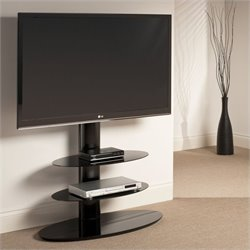 3 Shelf Pedestal TV Stand in Black