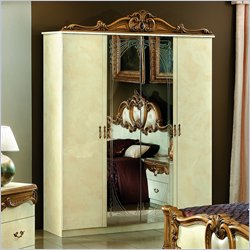 camelgroup Barocco 4 Door Wardrobe in Ivory w/Gold