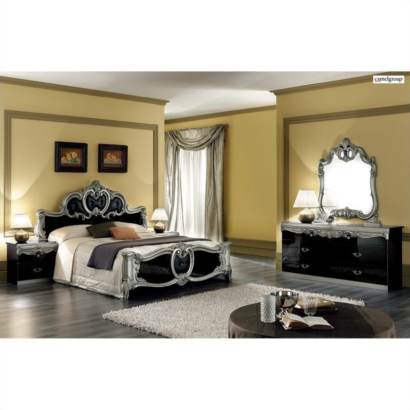camelgroup Barocco Bed in Black w/Silver