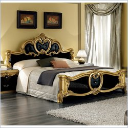 camelgroup Barocco Bed in Black w/Gold - Queen