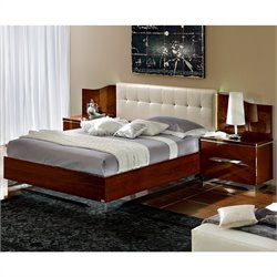 camelgroup Matrix Maxi Quadri Bed with Lights in White and Dark Walnut