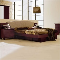 camelgroup Miss Italia Storage Bed in Matte Lacquer/Leather - Queen
