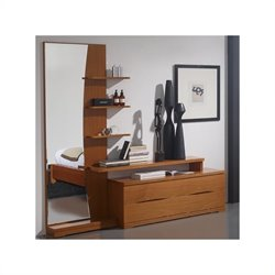 Benicarlo 114 Series Left Fancy Dresser and Mirror in Cherry