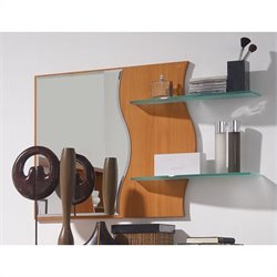 Benicarlo 114 Series Mirror with Glass Shelves in Cherry