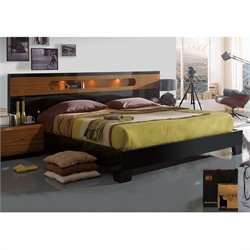 Benicarlo Sal Platform Bed in Glossy Black/Warm Walnut - Queen