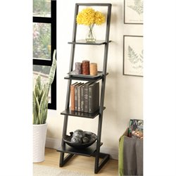 Convenience Concepts Designs2Go 4 Shelf Ladder Bookcase in Black