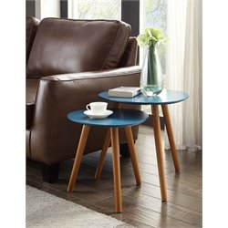 Convenience Concepts Oslo 2 Piece Nesting Table Set in Blue