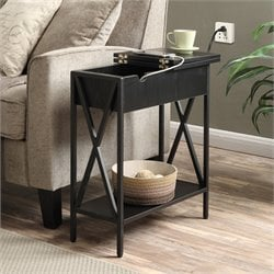 Convenience Concepts Tucson Electric Flip Top Table in Black