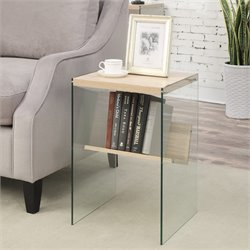 Convenience Concepts Soho End Table in Weathered White