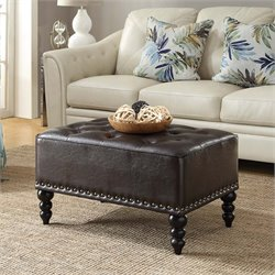 Convenience Concepts Designs4Comfort Tufted Ottoman in Espresso