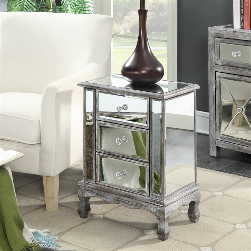 3 Drawer Mirrored End Table