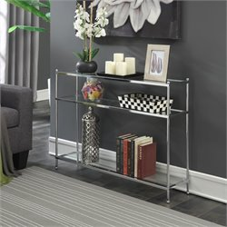 Convenience Concepts Royal Crest Console Table in Chrome