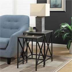 2 Piece Nesting End Table Set in Gray