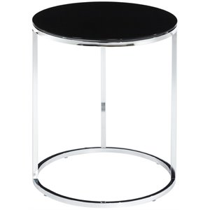 Convenience Concepts Royal Crest Round Glass Top End Table in Black