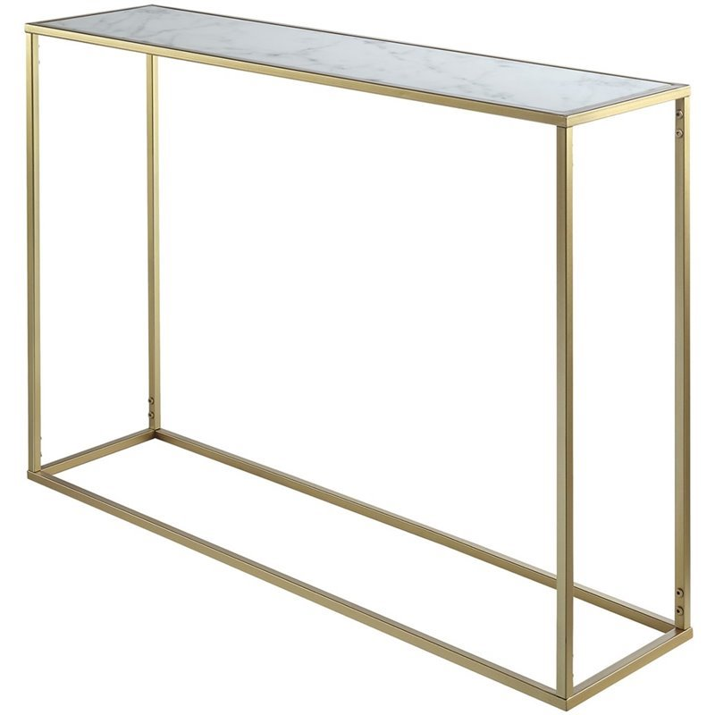 Convenience Concepts Gold Coast Faux Marble Top Console Table In