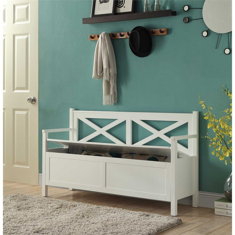 Superb Convenience Concepts Oxford Storage Bench In White Machost Co Dining Chair Design Ideas Machostcouk