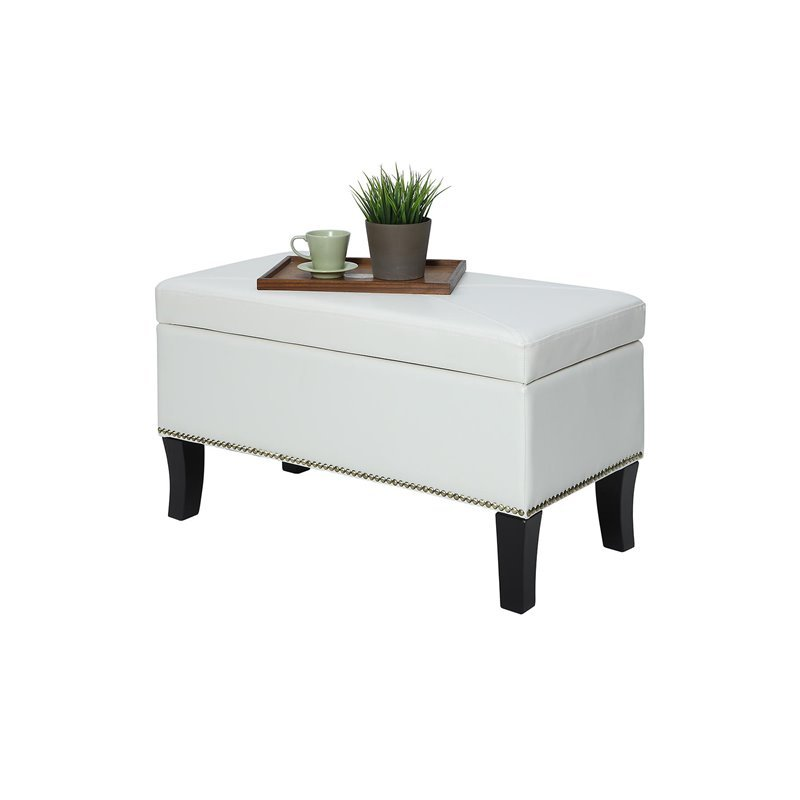 Convenience Concepts Designs4Comfort Winslow Storage Ottoman in Ivory