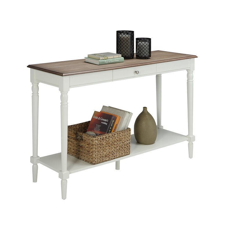 Convenience Concepts French Country Console Table With Drawer And Shelf In  Driftwood And White
