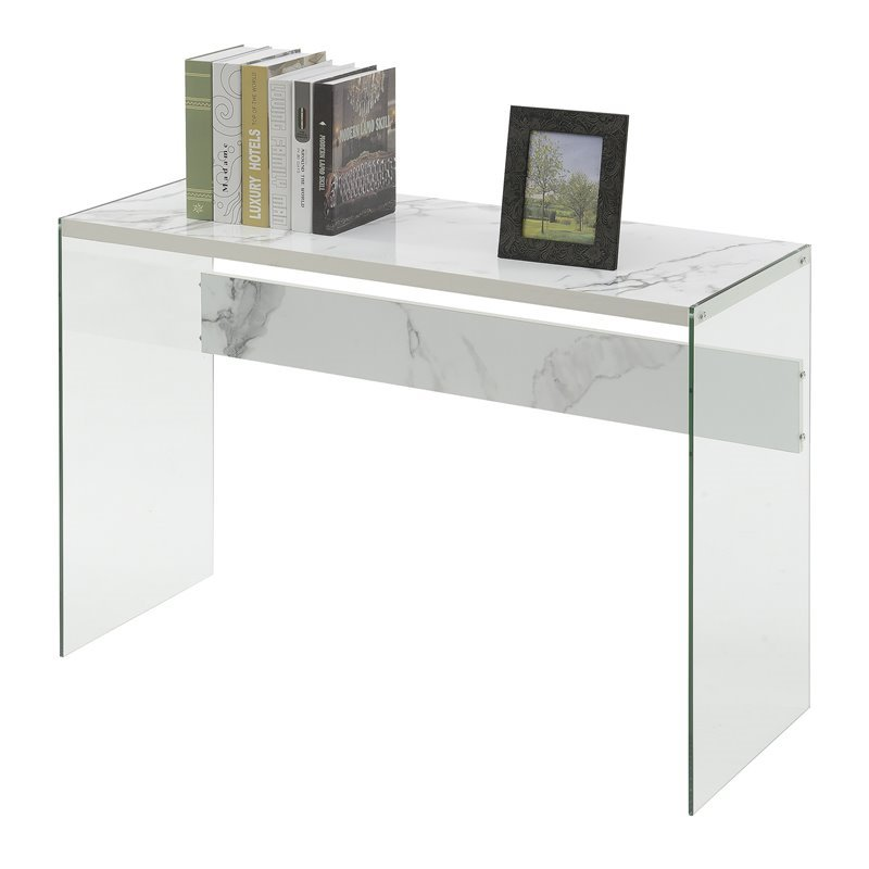 Convenience Concepts SoHo Console Table In Faux White Marble