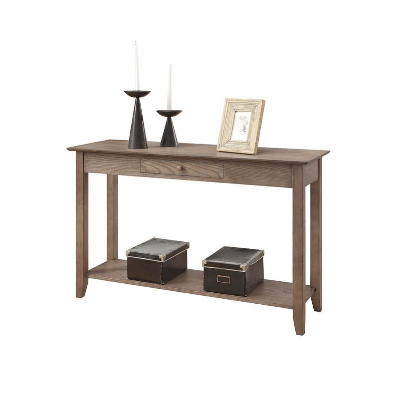 Convenience Concepts American Heritage Console Table In Caramel Driftwood Wood 7104099dftw
